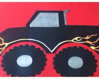 Kids, monster truck, truck, monster, monster trucks, kids room art, wall art