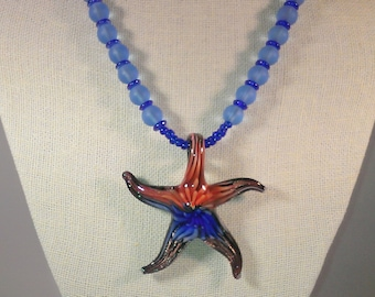 Lampwork Starfish Pendant, Sea Glass Beads, Antique Copper. Blue Necklace, Summer Necklace