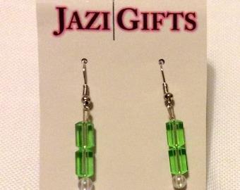 Double Green Drop Earrings