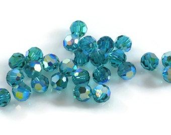Swarovski Crystal 6mm Round Bead 5000 Blue Zircon AB
