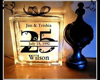 Anniversary Glass Block, Night Light, Personalized, Custom  glass block, 25 year,  50 year,  10 year, 15 year, anniversary gift