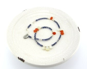 Iolite, White Rainbow & Agate Necklace