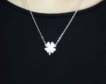 Four Leaf Clover Necklace, Lucky Charm Necklace, Sterling Silver 4 Leaf Clover, Gift for Her, Graduation Gift, Anniversay