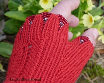 100% merino wool beaded wrist warmers / fingerless gloves with thumb bright red