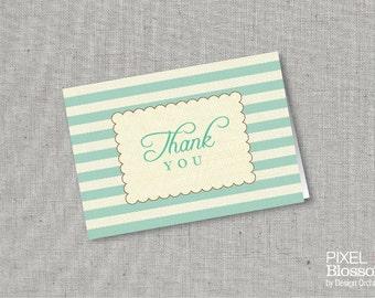 Instant Download - Thank You card, Stripes, Vintage, Green, DIY Printable