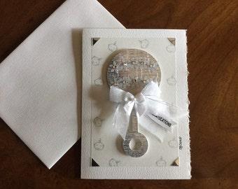Rattle, baby card, baby shower card, expectant mom card, blank card