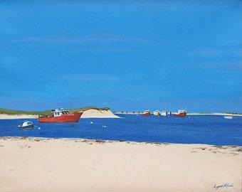 Fine Art Print - Chatham Bars Inn - Chatham Ma, beach, Cape Cod, Summer, Oil painting