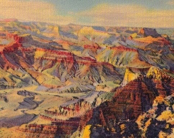 "1940's Original Linen Postcard, The Grand Canyon of the Colorado River ""The Rushingest Roaringest River"""