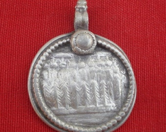 vintage antique tribal old silver necklace amulet pendant hindu god goddess