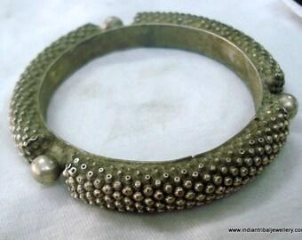vintage antique collectible tribal old silver bangle bracelet bellydance