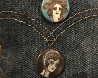 Medusa and Pearl Diver Buttons (Set of 2)