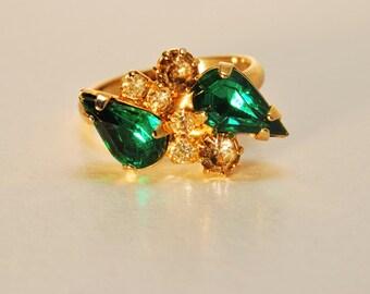 Emerald Green and Clear Rhinestone Ring