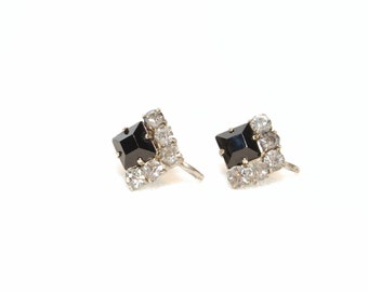Vintage Black and Clear Rhinestone Earrings