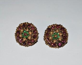 Beautiful Classic 1940's Blooming Flower Rhinestone Earrings