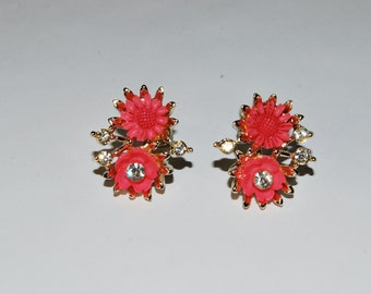 Vintage Signed Duane Coral and Rhinestone Earrings