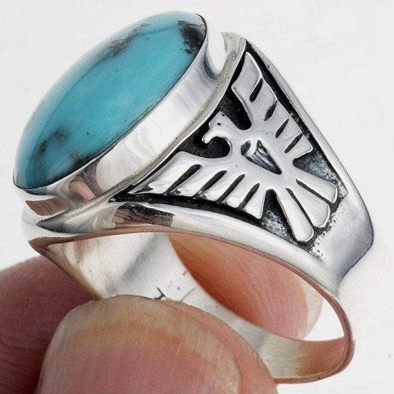 sterling silver and turquoise mens ring eagle by