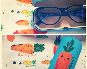 Glasses case - Sunglass case -  box for glasses - eyewear - eyeglass case - Hand-painted glasses case hard - hard sunglass case Carrot
