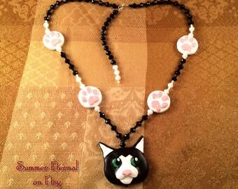 Tuxedo Cat - Artisan Necklace