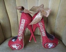 Custom made fan art heels. open toed heels. 49ers shoes. 49ers heels. 49ers pumps. Bling heels.  short heels. Tall heels