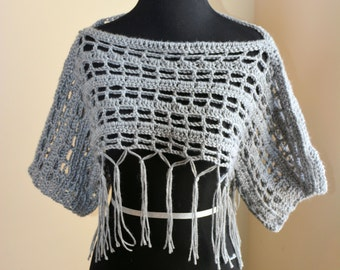 Gray Crochet Shrug