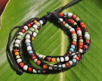 Multi-Colored Bali Adjustable Slide Knot Bracelet