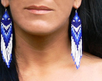 Native American Earrings Inspired. Blue and White Dangle Earrings. Beaded Jewelry