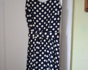 Polka dot dress, navy blue with white polka dots, Banana Republic navy blue polka dot dress, size 6