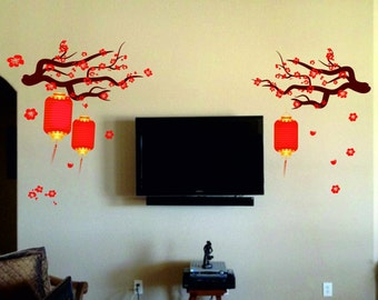 Chinese Lamp Wall Decal Kit - Reusable Vinyl Fabric - Repositionable Decal - Nursery Room Decals - Home Decor - Chinese Lamp On Tree Decal