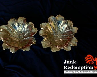 Brass leaf bowl Virginia Metalcrafters (Two)