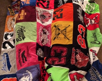 Re purpose your t-shirt collection into a functional keepsake double sized t-shirt quilt.