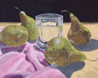 Still life painting, original painting, acrylic painting, 16x16 canvas, pears, Bradley Pearson, pearsonart1