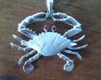 Handmade cast Sterling Silver Maryland Blue Crab Pendant on Black cord