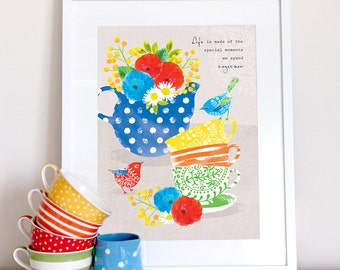 Stacked teacups, teapot and birds kitchen print, kitchen art, kitchen poster, family quote, friend gift, friendship print, family print
