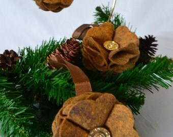 Rich Brown with Gold Variegation Felt Ornament