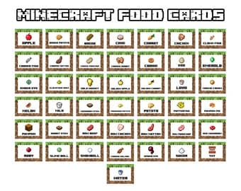 food printables card related keywords suggestions minecraft food