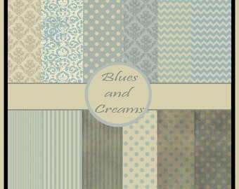 shabby chic soft pastel blues and creams digital scrapbook paper shabby chic blues and creams