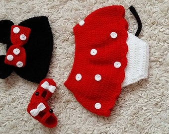 crochet baby girl minnie mouse set
