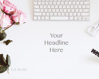 Desktop Styled Stock Photograph.  Roses.  Keyboard.  Pink, Black and White Styled Stock Photo.  High Resolution.