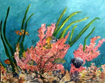 "Art/Mixed Media on Birchwood/Coral Reef/24"" X 30"""