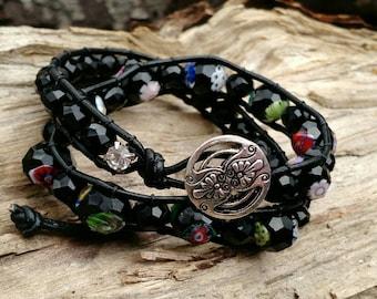 Black Leather Wrap Bracelet, Double Wrap Bracelet, Beaded Bracelet, Leather Wrap Bracelet, Flower Glass Beads Boho Bracelet, Boholilyshoppe