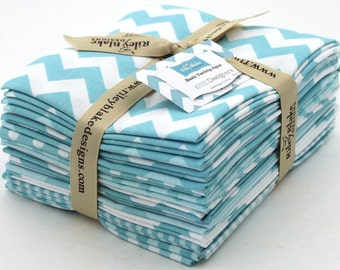 Riley Blake Fat Quarters Bundle - Aqua - 12 Pieces