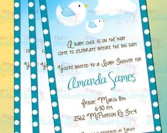 Baby Shower Birds Invitation - Boy 3