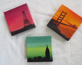 Anna, Lola, and Isla Mini 4x4 Handpainted Canvases Fanart Made to Order