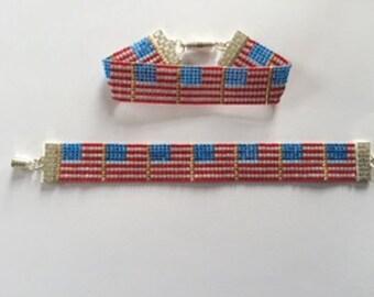 Loom woven  beaded bracelet.  Delica beads.  Magnetic closure.