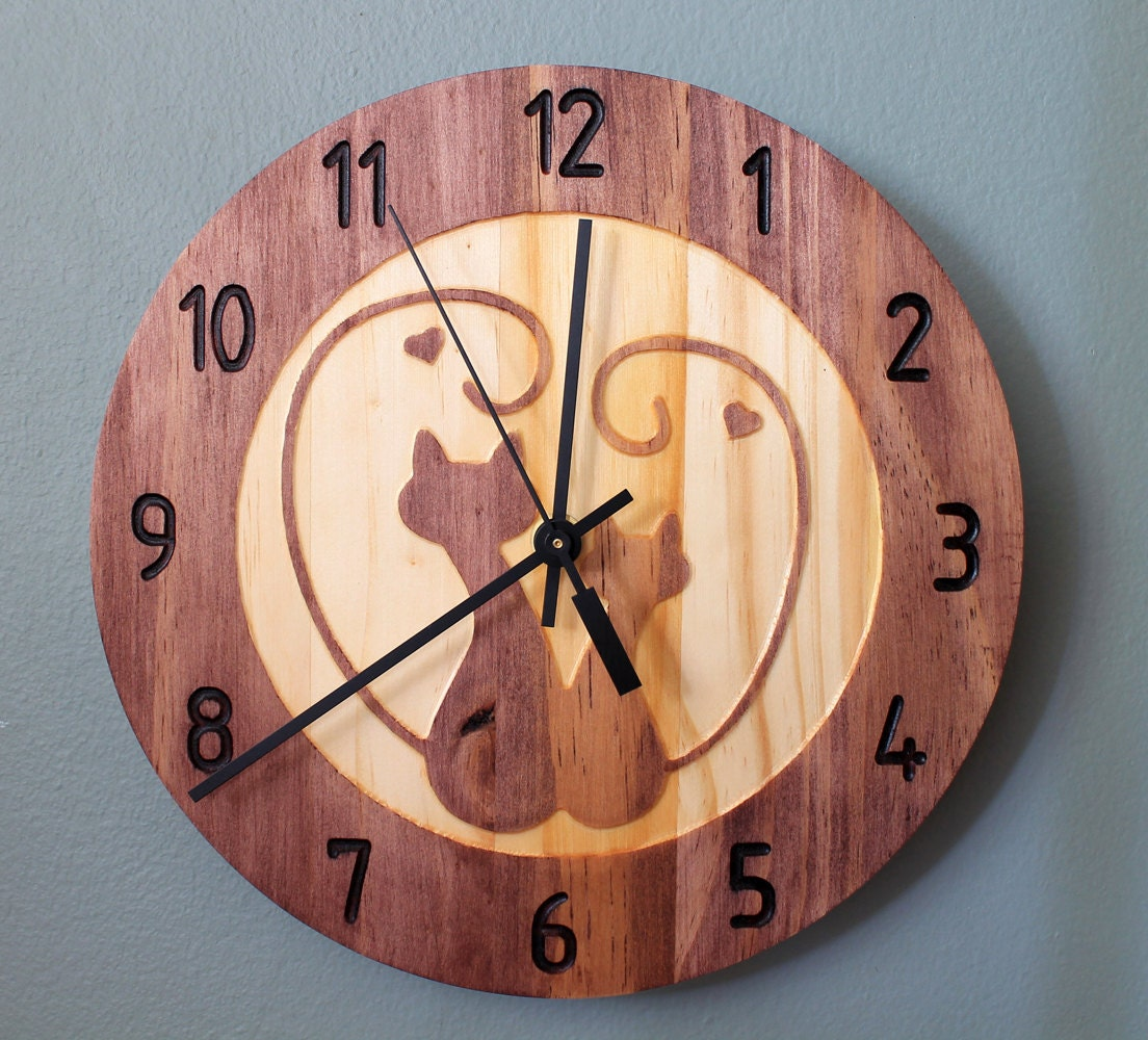 Kitty love clock cat clock wall clock wood by - Kitty cat clock ...
