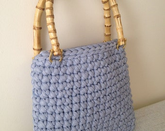 Light Blue chunky knit bag with Bamboo Handles