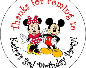 12 Mickey and Minnie Mouse Theme Birthday Party Stickers 2.5 inch Round Personalized kids