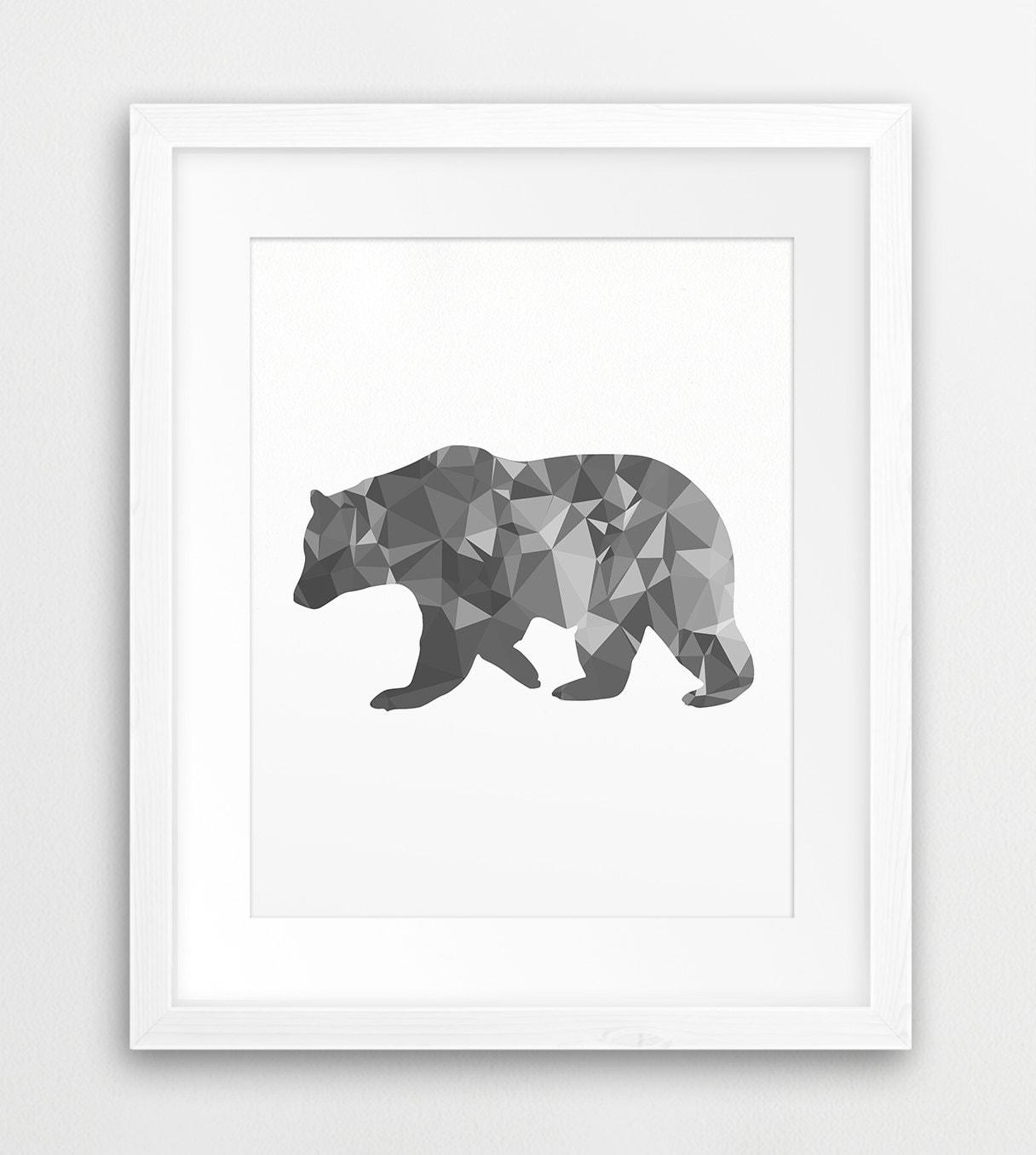 bear print geometric animals bear wall art mosaic art