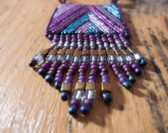 Geometric bead embroidered necklace