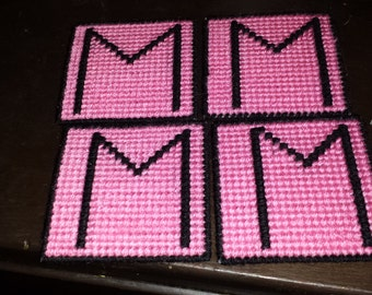 "Pink and Black ""M"" coaster"